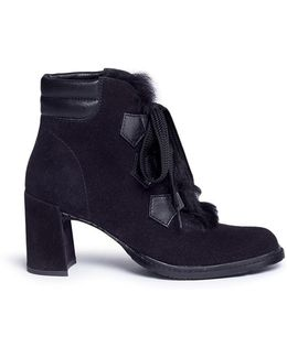 'wilmette' Fur Panel Lambskin Suede Ankle Boots
