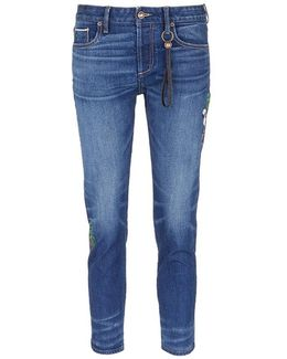 X The Webster Flamingo And Palm Tree Embroidered Cropped Jeans