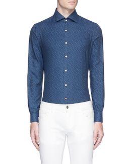 'como' Logo Print Twill Shirt