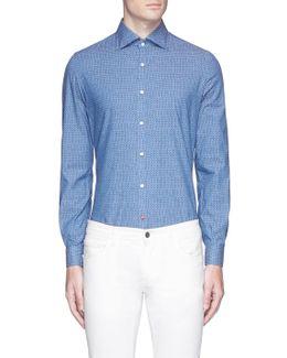 'como' Blur Print Woven Cotton Shirt