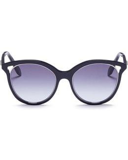 'layered Combination Square' Acetate Brow Bar Sunglasses
