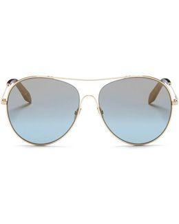 'loop Round' Metal Aviator Sunglasses