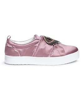 'levine' Embellished Eye Patch Satin Skate Slip-ons