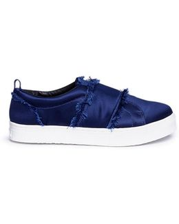 'levine' Frayed Satin Flatform Sneakers
