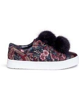 'leya' Pompom Floral And Bird Jacquard Flatform Sneakers