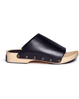 'nykola' Wooden Platform Leather Clogs