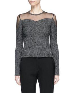 Sheer Panel Bouclé Knit Sweater