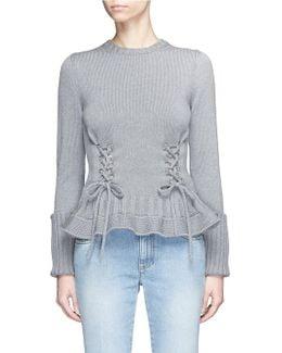 Lace-up Wool Peplum Sweater