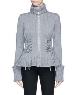 Lace-up Chunky Wool Knit Cardigan