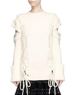 Lace-up Slashed Shoulder Wool Sweater