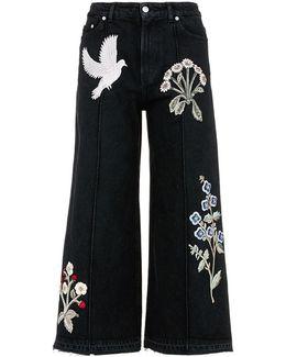 Swallow Gryphon Floral Appliqué Culotte Jeans