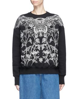 Falcon And Floral Embroidered Sweatshirt