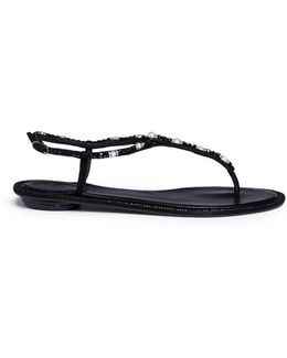Faux Pearl Beaded Leather Sandals
