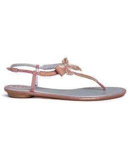 Strass Pavé Velvet Bow Sandals