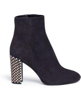 Embellished Heel Suede Boots