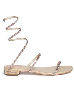 'snake' Strass Spring Coil Anklet Satin Sandals