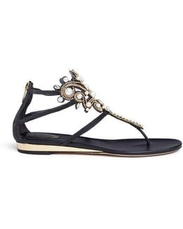 Faux Pearl Strass Suede Sandals