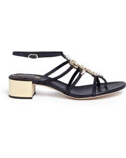 Strass Embellished Suede Sandals