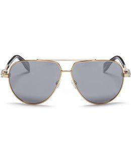 Skull Stud Metal Aviator Mirror Sunglasses