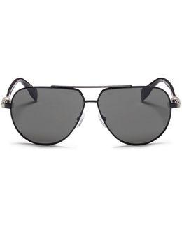 Skull Stud Metal Aviator Sunglasses