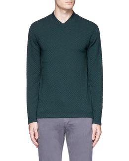 Grid Knit V-neck Sweater