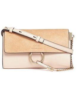 'faye' Mini Suede Flap Leather Crossbody Wallet
