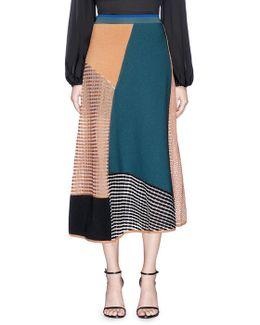 'kasamo' Colourblock Mixed Knit Long Skirt