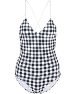 Gingham Lace-up Back One-piece Swimsuit