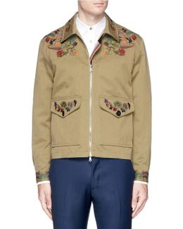 Floral Embroidered Cotton-linen Coach Jacket
