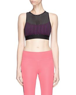 Cross Back Perforated Sports Bra