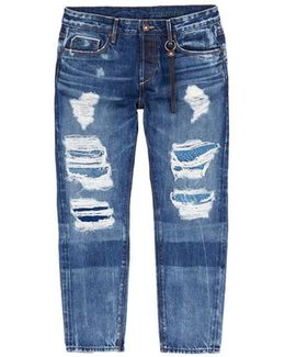'savanna' Knit Patchwork Ripped Cropped Jeans
