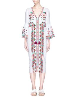 'minette' Floral And Stripe Embroidered Dress