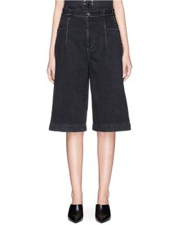 Lace-up Corset Waist Denim Culottes Shorts