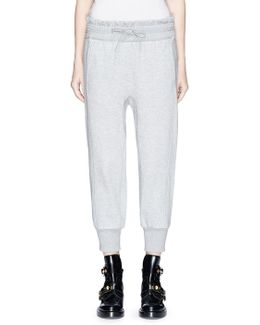 Smocked Waist Cotton Terry Cropped Jogging Pants