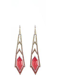 Crystal Haze Diamond Sapphire 18k White Gold Long Drop Earrings