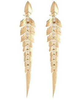 Diamond 18k Yellow Gold Linked Feather Drop Earrings
