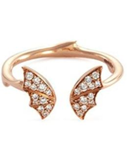 Bat Diamond 18k Rose Gold Mini Open Ring