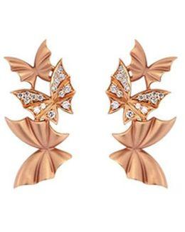 'pavé Triple' Diamond 18k Rose Gold Batmoth Earrings