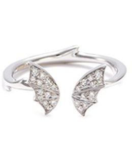 Diamond 18k White Gold Batmoth Mini Open Ring