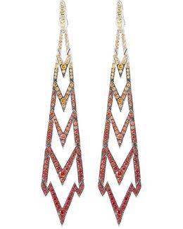 Sapphire 18k White Gold Long Drop Earrings