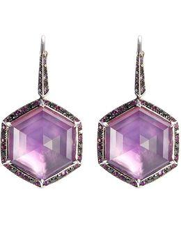 'haze' Diamond Crystal Haze Sapphire Large Drop Earrings