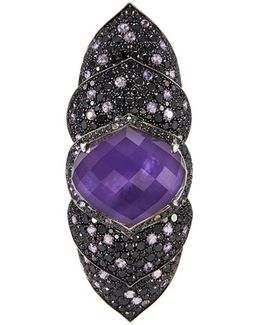 'armadillo' Crystal Haze Diamond Sapphire Long Finger Ring