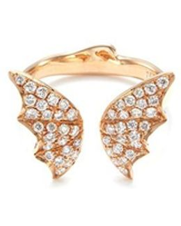 Diamond 18k Rose Gold Batmoth Open Ring