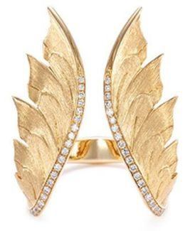 Diamond 18k Yellow Gold Feather Open Ring