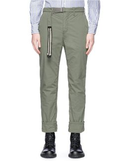 Ribbon Trim Belt Hopsack Pants