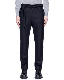 Ribbon Trim Belt Wool Melton Pants
