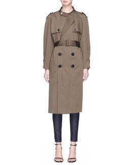 Convertible Sleeve Satin Trench Coat