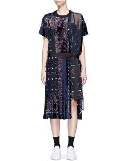 Bandana Print Velvet Panel Belted Dress