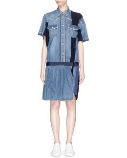 Rib Knit Panel Denim Dress