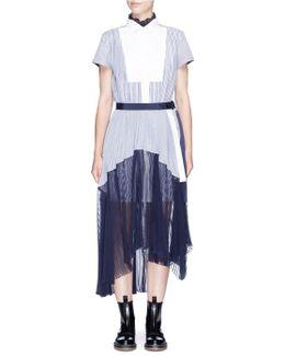 Piqué Bib Stripe Pleated Shirting Dress